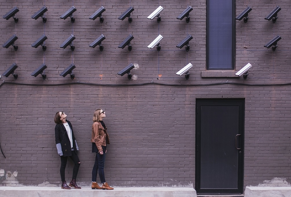 CCTV cameras watching two women